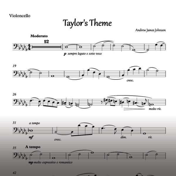 taylors theme cello notation